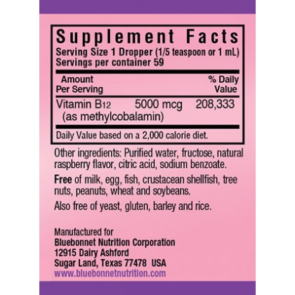 Bluebonnet Liquid Methylcobalamin (Vitamin B-12), 5000mcg, 59ml